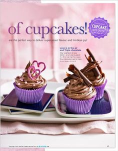 Clipped from pages 40 of Better Homes and Gardens, Jun 2014 issue by the Netpage app. Cupcake Flavors, Better Homes And Gardens, Mini Cupcakes, Cake Recipes, Cake Decorating, Home And Garden, Treats, Chocolate, Baking