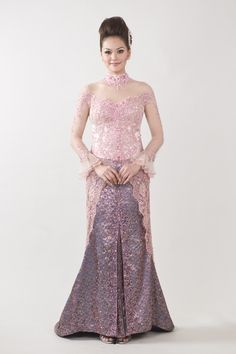 Kebaya Wedding Dress On sale.Visit: www.jayakebaya.com Kebaya Lace, Kebaya Dress, Batik Kebaya, Batik Dress, Lace Dress, Kebaya Pink, Kebaya Brokat, Model Kebaya Modern, Beautiful Dresses