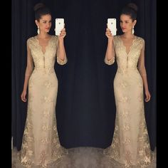 Cheap mermaid evening dress, Buy Quality evening dress directly from China lace mermaid evening dress Suppliers: Sexy Gold Lace Mermaid Evening Dresses with Sleeves Deep V-Neck Robe de Soiree 2017 Evening Party Gowns Prom Gown Handwork Long Prom Gowns, Prom Party Dresses, Formal Dresses, Formal Prom, Evening Dresses With Sleeves, Cheap Evening Dresses, Mermaid Prom Dresses Lace, Lace Mermaid, Evening Party Gowns