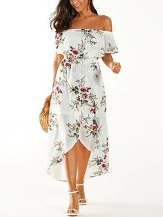 White Tiered Floral Off The Shoulder Stretch Waistband Dress, , Stylish Dresses, Sexy Dresses, Casual Dresses, Dress P, Dress For You, Bodycon Dress, Beautiful Gowns, Beautiful Outfits, Latest Fashion Dresses