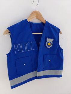 Kids Police Officer Vest Dress up Handmade Cotton by TootsAndMe - Jewelry Design Jewelry design 2020 Jewelry Ideas 2020 Dress Up Outfits, Dress Up Costumes, Diy Dress, Kids Outfits, Costumes Kids, Dress Ideas, Toddler Dress Up, Kids Dress Up, Sewing For Kids