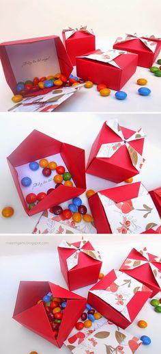 origami - cajas origami para festejar el día del amigo plegadas en papel