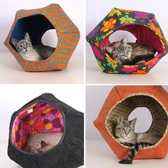 The Cat Ball Handmade Hideaway Cat Bed. Must figure this out, with fabrics that match my bedroom.
