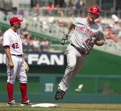 4/15/12: Cincinnati Reds' Ryan Ludwick, right, rounds the bases after hitting a grand slam.  Reds win it 8-5.