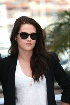 Kristen Stewart | Cat Eye Shades, Blazer & Tight White Tee