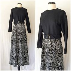 Vintage 60s Dress // Vintage late 1960s Black and White Long Dress by Margeaux Couture // long black floral print wool dress with two belts