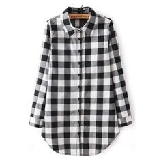 SheIn(sheinside) Black Buttons Long Sleeve Checks Plaid Blouse ($16) ❤ liked on Polyvore featuring tops, blouses, shirts, sheinside, blusas, plaid, black, collared shirt, black long sleeve blouse and boyfriend shirt