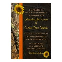 Camo & Sunflowers Custom Announcements