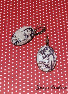 Boucles d'oreille dormeuses cabochon Pin up par JessysCrealand