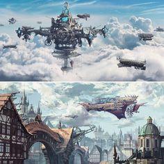 Beautiful concept art by Thomas Chamberlain-Keen #steampunkart #steampunk #steampunkstyle #airship #steampunkairship