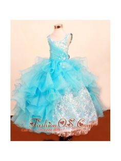 Fashionable Baby Blue Little Girl Pageant Dresses Ruffled Layered Scoop Floor-Length Lace- $156.59 http://www.fashionos.com http://www.facebook.com/quinceaneradress.fashionos.us A floor length ball gown skirt with sprinkled beading completes the look of this fantastic dress. This beautiful dress is a perfect choice for your 2013 pageant. A lace up back supports the design.