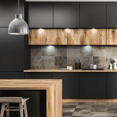 🖤Czerń i drewno to ponadczasowe klasyki! A kuchnia z drewnem to absolutny HIT!🤩 ———————————————————————— Zapraszamy do kontaktu:… Loft Kitchen, Kitchen Room Design, Kitchen Cabinet Design, Kitchen Layout, Home Decor Kitchen, Interior Design Kitchen, Home Design, Kitchen Furniture, Home Kitchens