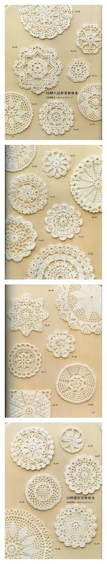 Free crochet motif doily diagram chart patterns. Some would make pretty Christmas ornaments!