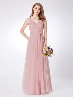 3f6f2e137b4a Ever-pretty Long Chiffon Bridesmaid Dresses Mesh V-neck Blush Evening Gown  07303