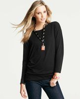 Dolman Sleeve Tunic - We love the easy, effortless style of this dolman sleeve top – the extended length makes it a perfect pairing for slim pants or skinny jeans. Jewel neck. Long dolman sleeves.