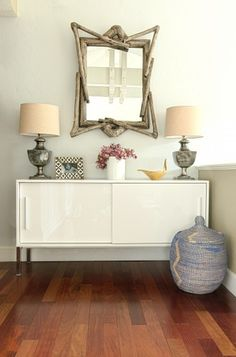 Eclectic mix | credenza + driftwood mirror + simple styling | Alex Amend Photography