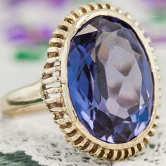 Antique-C-1940-Art-Deco-14k-Yellow-Gold-10-03-Ct-Corundum-Alexandrite-Ring