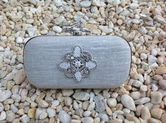 Natural Linen clutch with beads and crystals