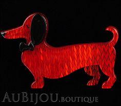 Erstwilder Dachshund Brooch Pin Spiffy the Sausage Dog Red