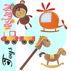 Toys Clip art contains 10 high quality 300 dpi PNG: 5 are full color and 5 are black and white line drawings, great for mass printing and coloring in pages
