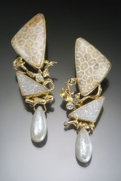 Petrified coral earring with drusy quartz, diamond and pearl in 22k and 18k gold.