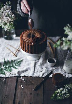 Coconut coffee cake with caramel glaze