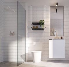 wall-mounted sink with storage, walk -in shower