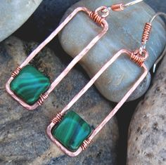 Hammered Copper Earrings Malachite Natural Stone Hoop Frame Sterling Silver Earwires Mixed Metal