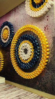 Ganapati decoration Add lights thru back into cups for evening decor Diwali Decorations At Home, Paper Decorations, Flower Decorations, Wedding Stage Decorations, School Decorations, Diy Home Crafts, Crafts For Kids, Ganpati Decoration Design, Ganesh Chaturthi Decoration