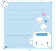 Free Printable Kawaii Coffee Memo Sheet and Envelope
