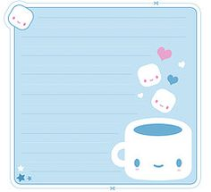 Free Printable Kawaii Coffee Memo Sheet and Envelope