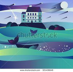 Image result for vector fantasy landscape flat art