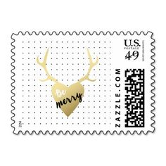 Gold Antlers | Holiday Postage