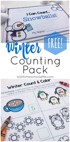 FREE Winter Count to 10 Printables - these fun winter worksheets for kids make it fun for toddler, preschool, and kindergarten age kids to practice counting to 10 with counting practice, coloring, counting emergent reader, and more.