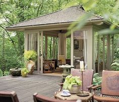 Pavillion at the end of the deck...sliding doors, full-length curtains to be drawn for privacy,