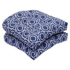 Pillow Perfect™ Ring a Bell 2-Piece Outdoor Wicker Seat Cushion Set - BLUE/OFF WHITE