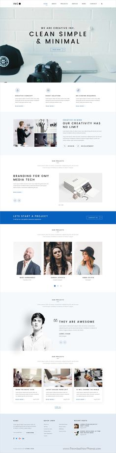 INC. is clean and minimal design PSD template for creative #business website with 3 different homepage layouts and 22 layered PSD pages download now #psdtemplates