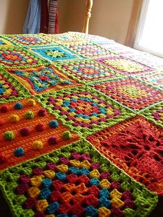 Great idea! Basic granny square alternating with specialty squares to make a wonderful afghan!