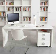 Simple But Mesmerizing Small Home Office Interior Design In White Theme With Minimalist White Computer Desk And Chair And Mobile Filling Cabinet Also Huge Bookcase And White Wall Paint Color And Gray Floor Tile Home Office Storage, Home Office Space, Home Office Desks, Home Office Furniture, Modern Furniture, Furniture Ideas, Furniture Direct, Furniture Movers, Office Workspace