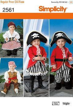 2b634893188 Fun Pirate Costumes--Movie Style--UNCUT Patterns -- 6mo- 4 yr Multi  Sizes--Buyers Choice --40-70% off Patterns n Books
