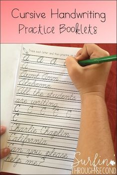 Need a simple practice booklet for cursive handwriting?  These teach letters in a methodical order starting with lowercase and moving to upper.