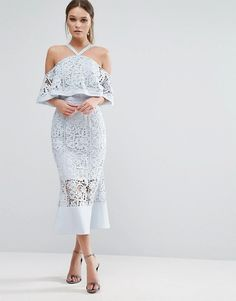 Jarlo Bandeu Midi Dress with Fishtail