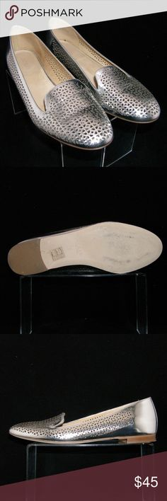 """J. Crew 'Cleo' mirror metallic perforated flat 9 A feminine spin on the classic gentleman's smoking slipper. We recast it in a slimmer, more flattering silhouette in our signature prints and colors. This pair's made from a custom-created, perforated metallic leather upper, leather lining, 3.5"""" width, and a 0.5"""" block stacked heel. Slightly worn upper(scuffs), inner, insole, heel, and sole. Made in Italy. A2410 $198 MSRP Made in Italy J. Crew Shoes Flats & Loafers"""