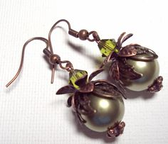 Earrings Olive Green Swarovski Crystal Pearl and Sparkling Olivine Crystals  Brass Copper FREE SHIPPING. $6.95, via Etsy.