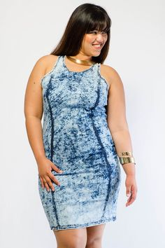 Bodycon denim dress plus size