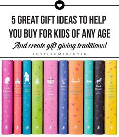 5 Great Gift Ideas For Kids Of Any Age. Love these gift ideas that truly do work for any age, and also love the idea of starting a tradition and giving a similar gift each year. Makes picking out gifts a bit more fun a little less stressful.