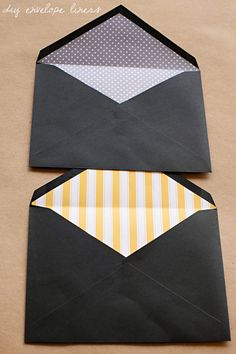 DIY Envelope Liners... upcycle with book pages, sheet music, magazine pages, themed ads - baby themed ad flyers or toy circulars for baby showers, bridal mag ads for bridal shower, etc.