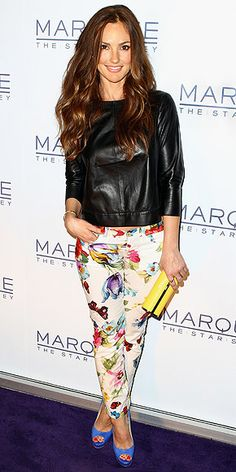 Floral jeans and a leather top...love it and want it!