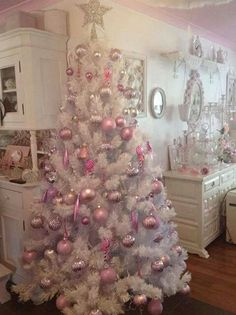 shabby-chic-pink-christmas-trees More white christmas Pink Christmas Tree Decorations, White Christmas Trees, Noel Christmas, Victorian Christmas, Beautiful Christmas, Pink Decorations, Christmas Mantles, Vintage Christmas, White Trees