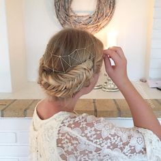 Fishtail braids with a geometric headpiece